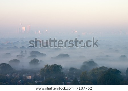 Morning fog blanked Toronto - stock photo