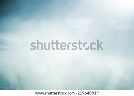 Morning fog in sunny meadow - stock photo