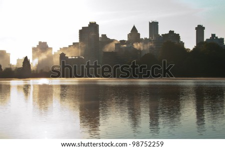 Morning fog in the city. Or, urban pollution. - stock photo