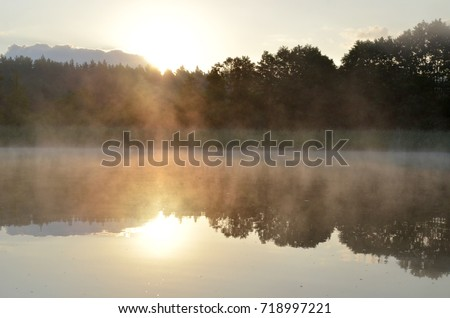 Morning fog lake view poland