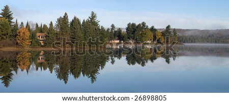 Morning Fog On Lake Ruth, Baraga County, Michigan's Upper Peninsula - stock photo
