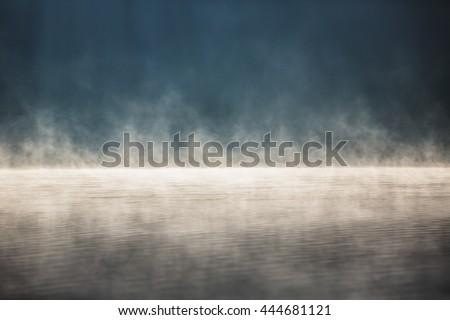 Morning fog on the lake, sunrise shot - stock photo