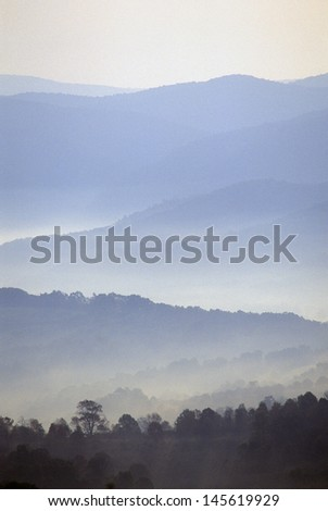 Morning fog over West VA on US Route 219 - stock photo