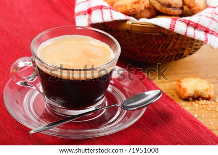 Morning fresh espresso coffee and delicious cookies - stock photo