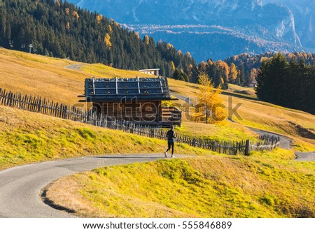 Morning, Gardena valley with Pizes de Cir mountain gange. Colorful sunset in Dolomite Alps, Province Bolzano, South Tyrol, Location Ortisei of Italy