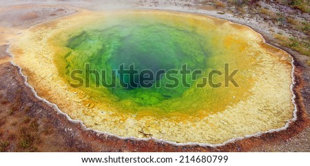 Morning Glory Pool in Yellowstone National Park, Wyoming, USA. - stock photo