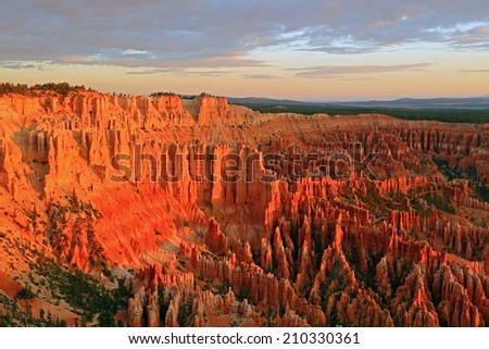 Morning glow in Bryce Canyon National Park, Utah, USA. - stock photo
