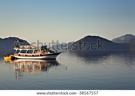 Morning  Harbor with Beautiful Yacht in Marmaris - stock photo
