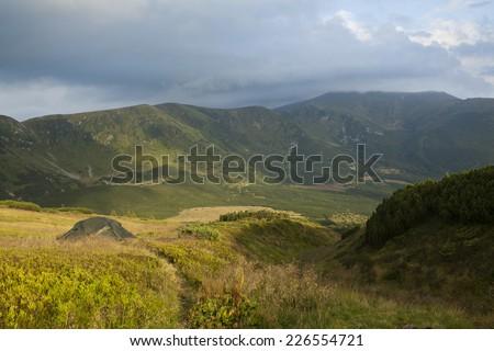 Morning in Carpathian mountains - stock photo