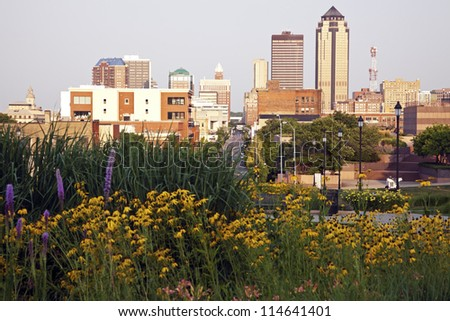 Morning in Des Moines, Iowa. Skyline of the city. - stock photo