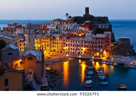 Morning in Historical Village Vernazza, Cinque Terre, Italy - stock photo