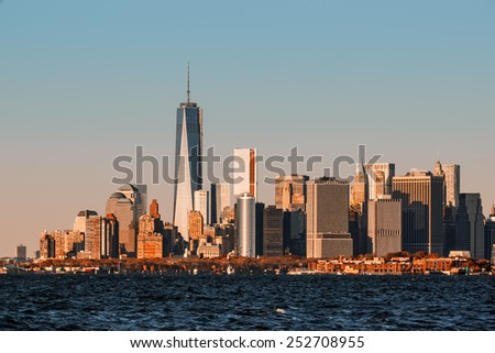 Morning in New York. View of Manhattan skyline in NYC - stock photo