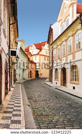 Morning in old city without people and cars. Prague. - stock photo