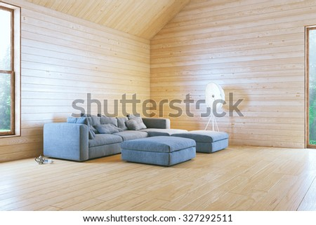 Morning in Stylish Wooden Contemporary Living Room - stock photo