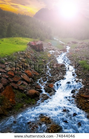 Morning in the  mountain landscape - stock photo