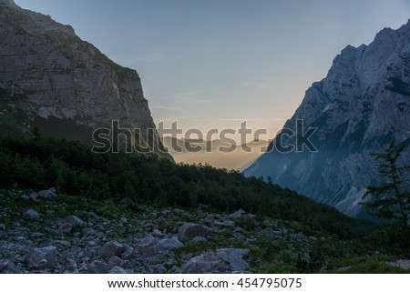 Morning in the mountains. Beautiful view in Julian Alps in Slovenia.