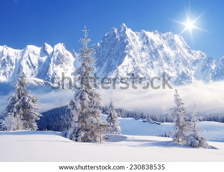 Morning in the mountains. Winter landscape with a fresh snow - stock photo