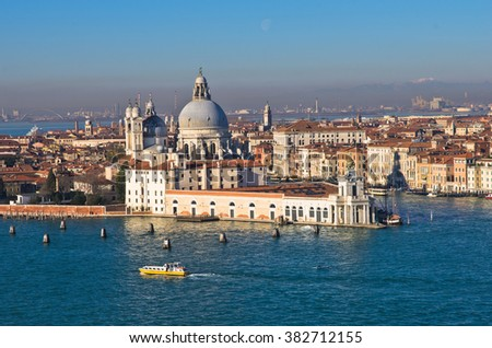 Morning in Venice, boats, Grand Canal and Santa Maria della Salute church, Italy - stock photo