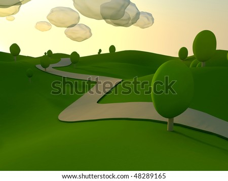morning landscape cartoon - stock photo