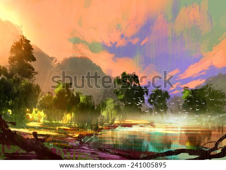 morning landscape with fog and warm sky over riverbank ,digital painting  - stock photo
