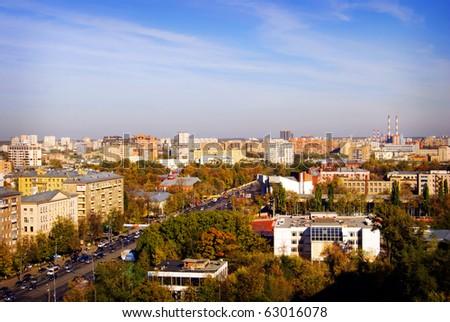 Morning large city view. Moscow Sokolniki - stock photo