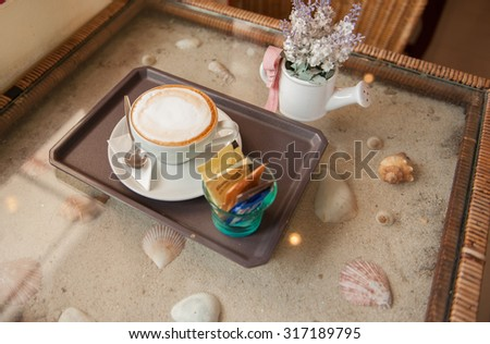 Morning Latte at the Cafe - stock photo