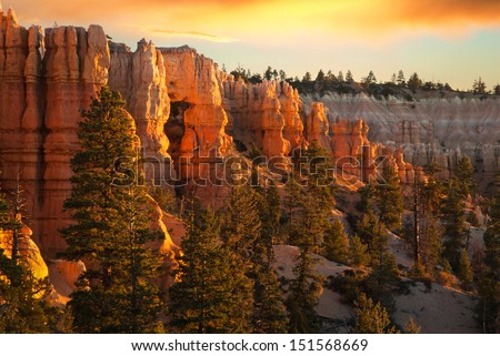 Morning Light at Bryce Canyon National Park, Utah, USA - stock photo