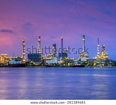 Morning Light at  Oil refinery  riverside Chao Phraya River at Bangkok Thailand