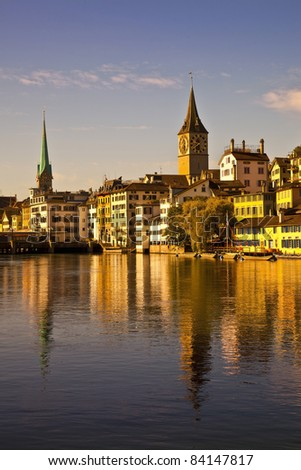 Morning light in Limmat River, Zurich - stock photo