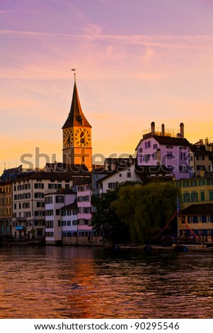 Morning light in Zurich, Switzerland - stock photo