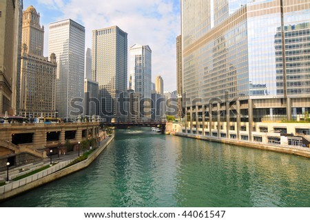 Morning light on the Chicago River, seen from Michigan Avenue - stock photo