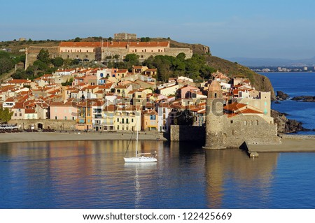 Morning light over the Mediterranean village of Collioure, Vermilion coast, Languedoc-Roussillon, France - stock photo