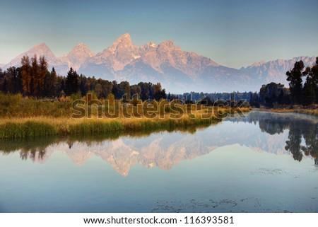 Morning light, Schwabacher's Landing, Grand Teton National Park - stock photo