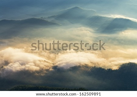 Morning Mist at Tropical Mountain Range ,Nan Thailand  - stock photo