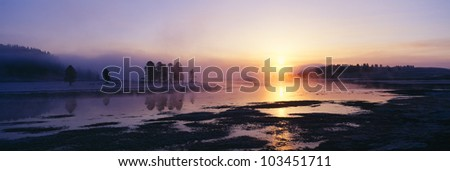 Morning mist at Yellowstone National Park, Wyoming - stock photo