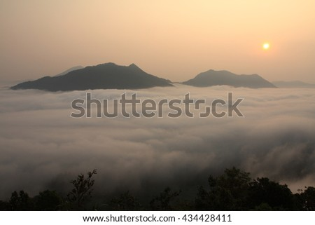 Morning mist in Chiang Khan, Loei,Thailand