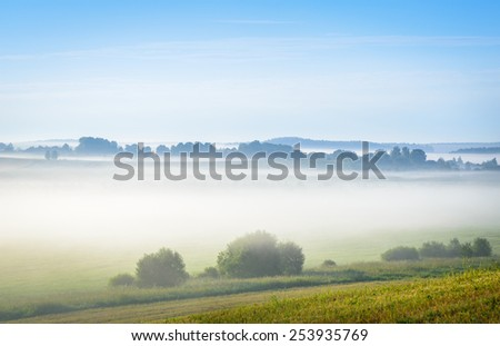 morning mist over the fields - stock photo