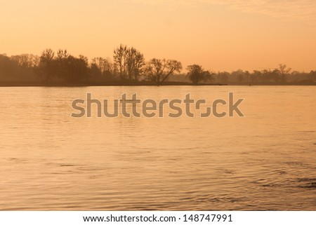 morning mood in the winter - stock photo