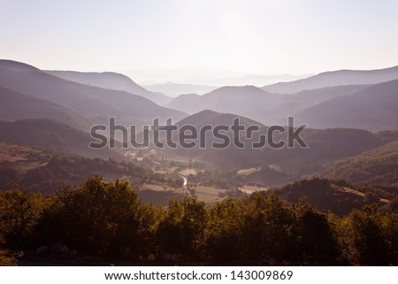 Morning mountain landscape - stock photo