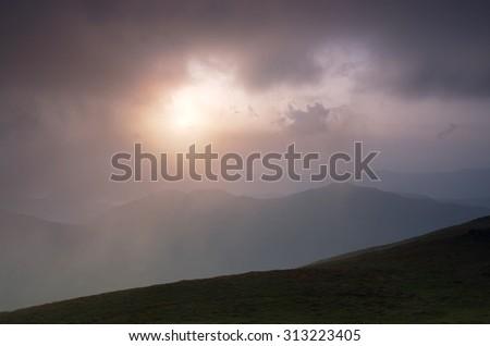 morning mountain plateau landscape (Carpathian, Ukraine)  - stock photo
