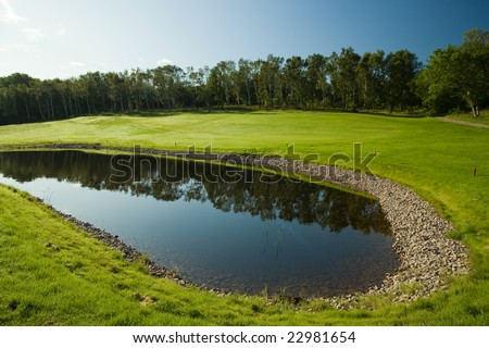 Morning of a bright day on a golf course in Molle, Sweden - stock photo