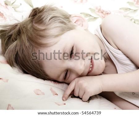 Morning of little boy - stock photo