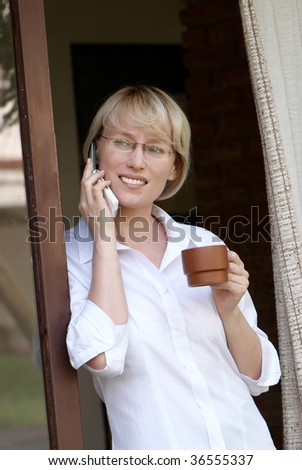 Morning of the business woman. - stock photo