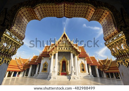 Morning of The Marble Temple, Wat Benchamabopitr Dusitvanaram Bangkok THAILAND