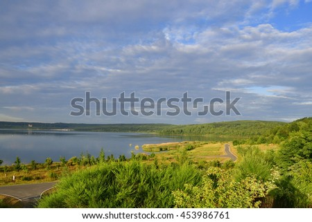 Morning on Lake Berzdorf in summer. - stock photo