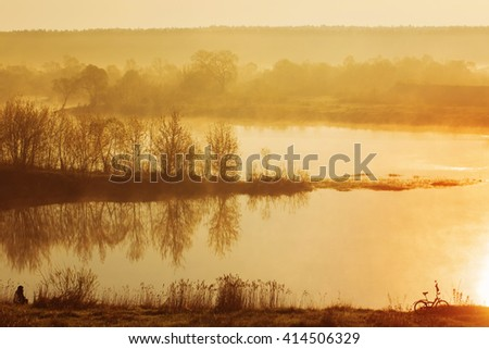 morning on river - stock photo