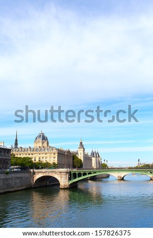Morning on Seine river in Paris, France.