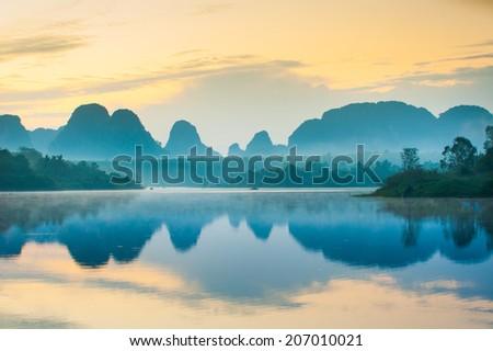Morning on the edge of the lake. Krabi Thailand - stock photo