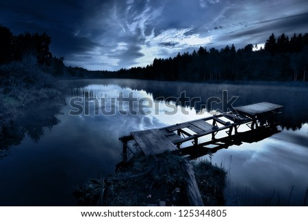 Morning on the lake - stock photo