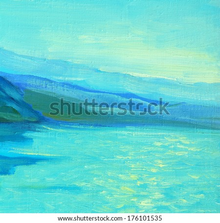 morning on the sea, painting, picture,  illustration - stock photo